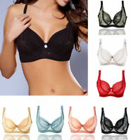 32 34 36 38 40 42 44 BCD Cup Women's Sheer Lace Bra Underwire No-Pad Push Up Bra