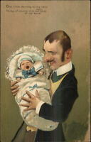 Rich Man Father Baby Screaming Crying PFB Caricature c1910 Postcard
