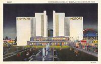 1933 Chicago World's Fair CHRYSLER BLDG @ Night - Orig Linen Postcard