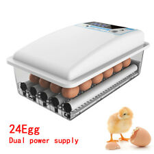 24 Eggs Incubator Auto-turning Poultry Hatcher Chicken 110V Duck, Goose, Pigeon