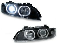 01-03 BMW E39 V3 U-Ring LED Halo D2S Xenon HID Headlight + Auto Level + Ballasts