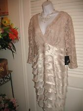 Adrianna Papell Champagne V- Neck Formal Cocktail Dress Size 16 Mother of Bride