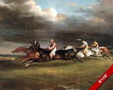 THE DERBY STAKES HORSE RACE EPSOM DOWNS ENGLAND PAINTING ART REAL CANVAS PRINT