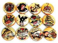 """12 OP ART MOD Buttons Pinbacks ONE Inch 1/"""" Pins Badges Retro Optical Abstract"""
