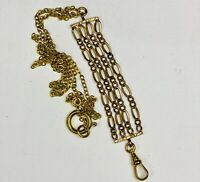 antique Victorian pocket watch chain Necklace 24in assemblage Gold tones ooak