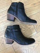 Ladies White Stuff Black Leather Ankle Boots UK 6