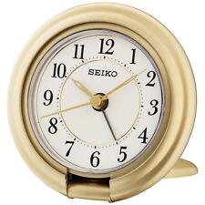 Reloj Despertador Seiko QHT014G De Viaje luminosa con función de prensa de Pantalla Oro-Nuevo