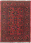 """Vintage Hand-Knotted Carpet 3'4"""" x 4'6"""" Traditional Oriental Wool Area Rug"""