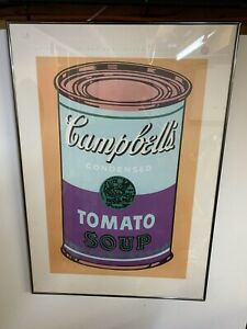 "ANDY WARHOL ESTATE RARE 1989 1ST ED LITHO PRINT FRAMED POSTER "" SOUP CAN "" 1965"