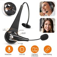 Wireless Bluetooth Trucker Driving Over Head Headset Noise Cancelling Mic Earbud