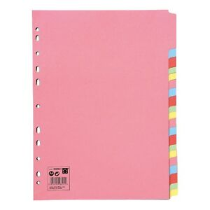 5-20 Subject File Filing Dividers Folder - Multi Colour A4 Punched Index Sheets