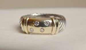 DAVID YURMAN 14K GOLD/STERLING  DIAMOND RING