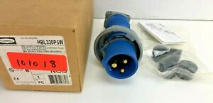 HUBBELL WIRING DEVICE HBL320P6W IEC Pin and Sleeve Plug,2P,3W,20A,250V