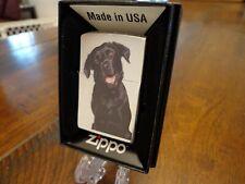 Black Lab Labrador Retriever Dog Brush Chrome Zippo Lighter Mint In Box