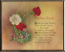 Dear Mother Sign Framed Watercolor Hand-Painted Plaque VTG Love Mom's Day XLT