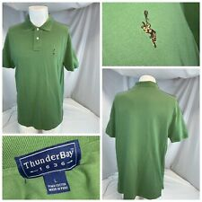 Thunder Bay 1636 Lacrosse Polo Shirt L Men Green Cotton Lycra Peru Ygi D0-279