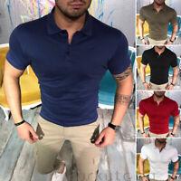 Men's Slim Fit Shirts Short Sleeve Casual Golf T-Shirt Jersey Tops Tee