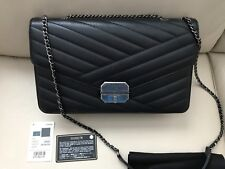 $3300 100%AUTH Chanel 16A Black Gabrielle Chevron Flap Bag Ruthenium HDW Tags