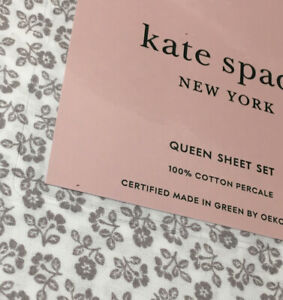 Kate Spade QUEEN Petite Cottage Floral Gray White 4pc Cotton Sheet Set Free 📦