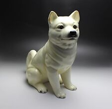 "12"" H Large Sitting White Cream Shiba Inu Dog Porcelain Figurine Japan New"