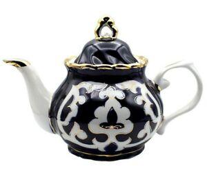 Turan Porcelain Gilded Teapot, Handmade Uzbek Pakhta Ceramics, 1.2 qt