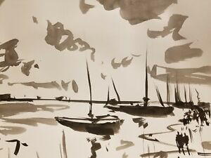 JOSE TRUJILLO - ABSTRACT EXPRESSIONISM INK WASH on Paper Boats Nautical Marine