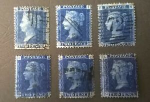 Great Britain 1856 -1858 QV SC 29-30 *SG 45//47* 2p Blue PL 7-9 & 13-15 Set of 6