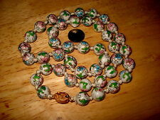 Vintage Chinese Cloisonne Enamel Bead Necklace White with Florals