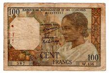 Comores & MADAGASCAR COMOROS Billet 100 FRANCS 1961 P46  BON ETAT