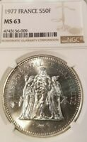 1977 FRANCE SILVER 50 FRANCS HERCULES NGC MS 63 GREAT LUSTER BEAUTIFUL COIN