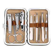 Manicure Pedicure 10 PCS Tools Set Kit Nail Clipper Clean Ear Cuticle Grooming .