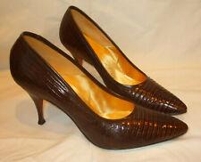 Vtg 1960s DeLiso Debs Alligator Embossed Leather Pumps Heels Shoe Pinup Retro~8B