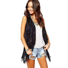 Womens Winter Cool Tassels Faux Suede Ethnic Sleeveless Fringed Vest Cardigan