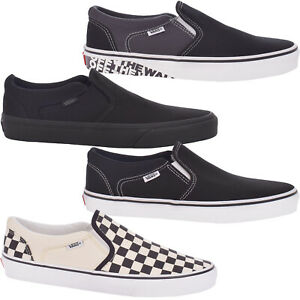 Vans Mens Asher Canvas Casual Slip On Plimsolls Trainers Shoes