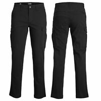 Jack and Jones Mens Cargo Combat Trousers Black Chino Cotton Pant Work Jeans