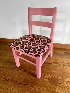 Leopard Print Childrens Chair Solid Wood