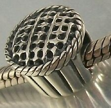 925 STERLING SILVER Pastry PIE Design European slide on CHARM BEAD oxidised