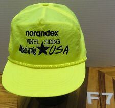 "NORANDEX VINYL SIDING ""MADE IN THE USA"" NEON YELLOW ADJUSTABLE HAT VGC"