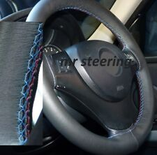 FOR BMW E90 REAL BLACK LEATHER STEERING WHEEL COVER M3 STITCH 2005-2011