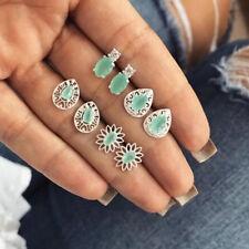 4 Pairs/Set Vintage Women Bohemian Retro Opal Stone Stud Earrings Jewelry Z
