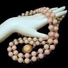 Vintage Beads Crystals Long Necklace 2 Multi Strands Pink Acrylic