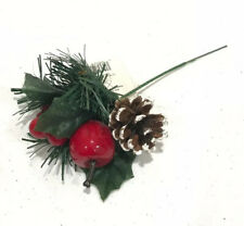 Christmas Pick Ornament Pine Cone Apple Berry Mistletoe By Holiday Style 8� Long