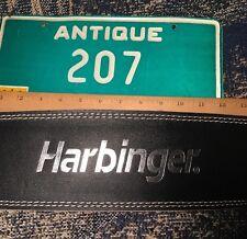 "Harbinger 4"" Padded Leather Belt Medium Weight Lifting Back Support Silver Logo"