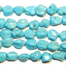 "NG1795 Blue-Green Turquoise Medium 12mm Nugget Magnesite Gemstone Beads 16"""