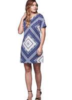 Yumi Short Sleeve Lightly Textured A Line Lightweight Tunic Dress size 10 NEW