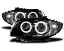 black finish LED Angel Eye headlights for BMW 1 E81 E82 E87 E88 04-11
