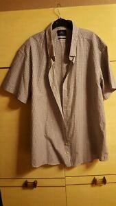 "New MOSS LONDON  XXL 19""  White & Silver Grey Check Short Sleeve Slim Fit Shirt"