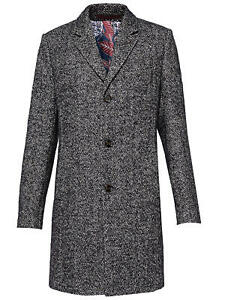 Ted Baker Rich Herringbone Coat Navy Ted Size 4 (UK Size: L) RRP £501.99