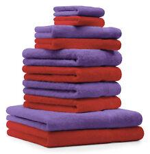 Betz Juego de 10 toallas PREMIUM 100% algodón en rojo y morado