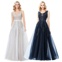 New Long BEADED Evening Bridesmaid Party Prom Formal Cocktail WEDDING Gown dress